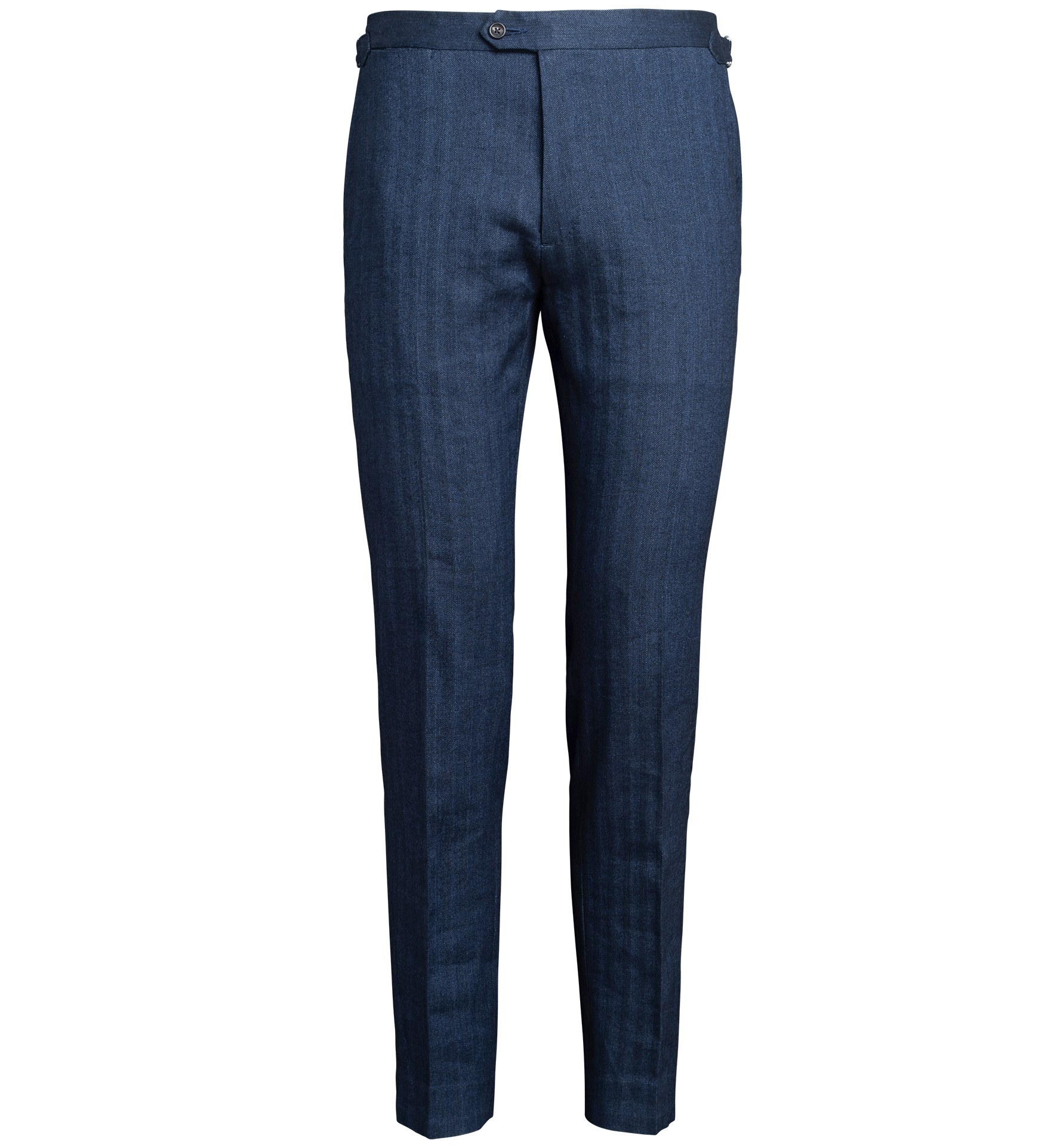 Zoom Image of Allen Navy Cotton and Linen Stretch Herringbone Trouser