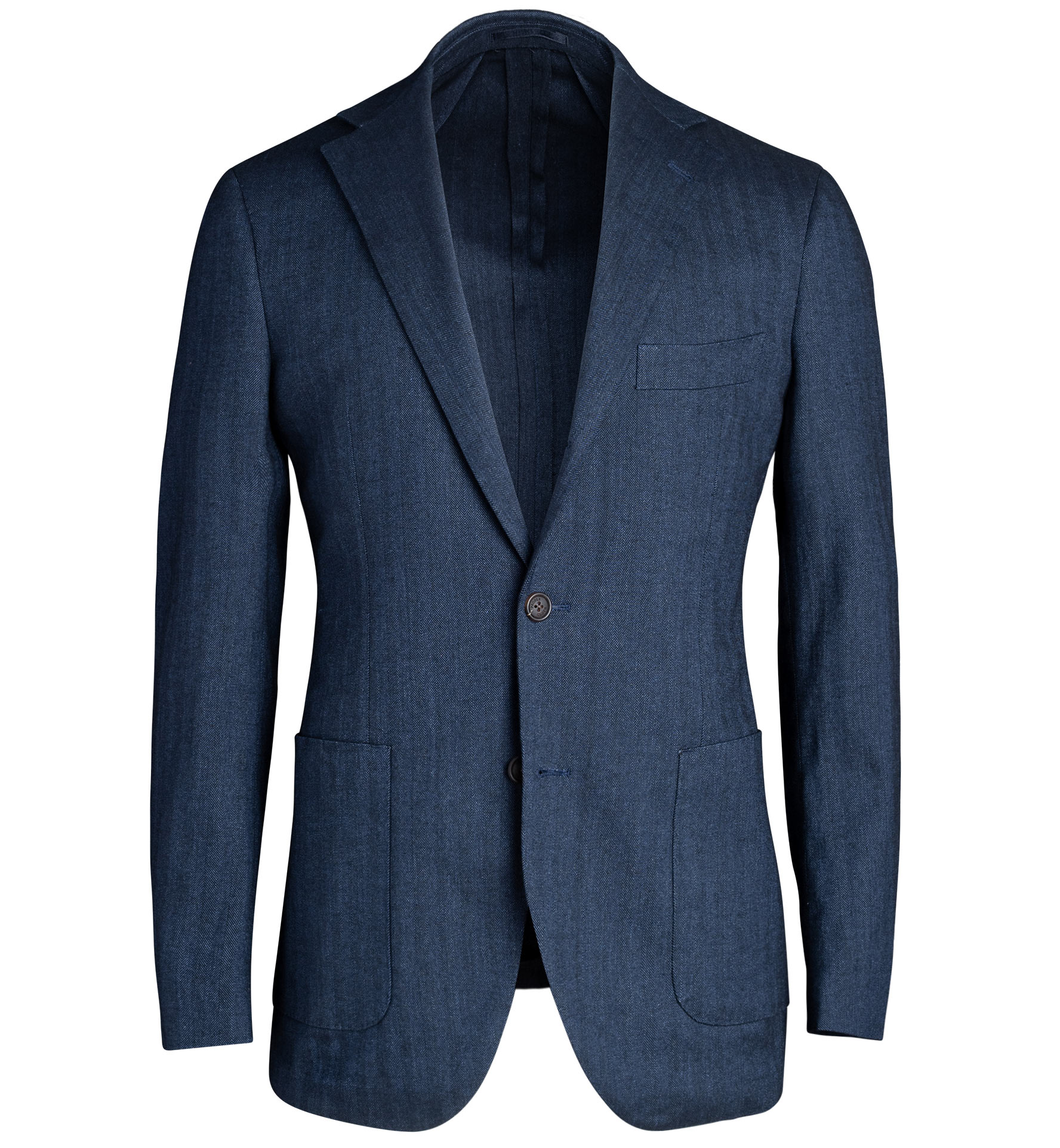 Zoom Image of Waverly Navy Cotton and Linen Stretch Herringbone Jacket