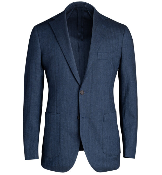 Waverly Navy Cotton and Linen Stretch Herringbone Jacket