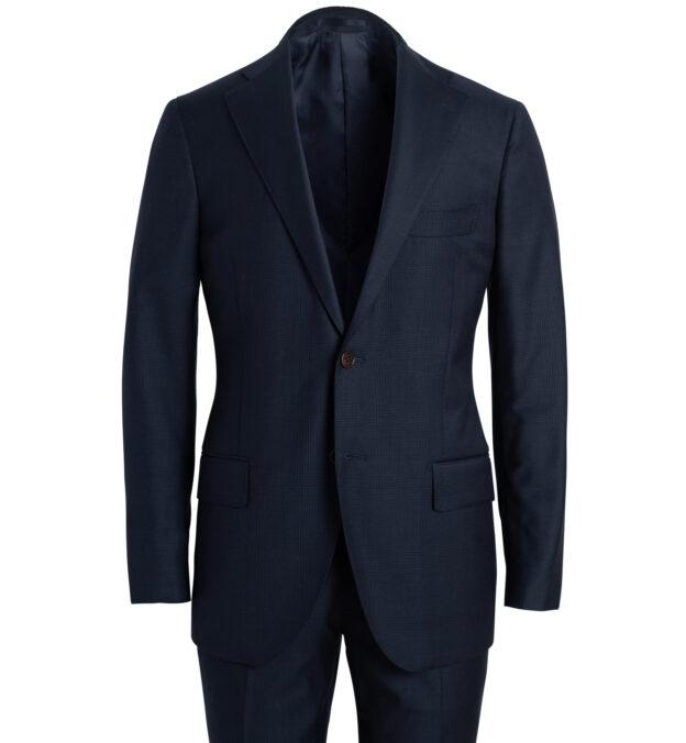 Allen Navy S110s Glen Plaid Suit