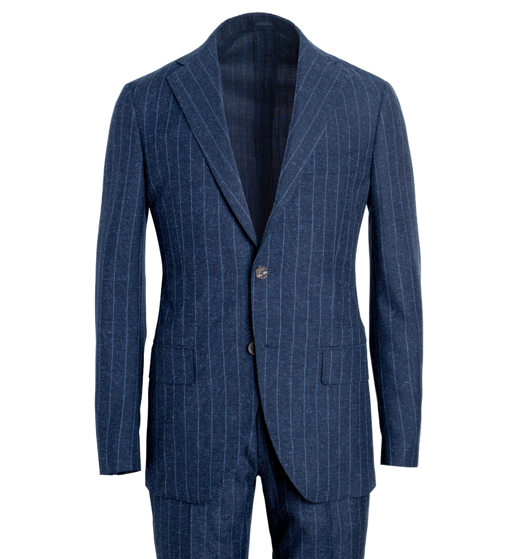 Zoom Image of Bedford Navy Pinstripe Wool and Silk Suit
