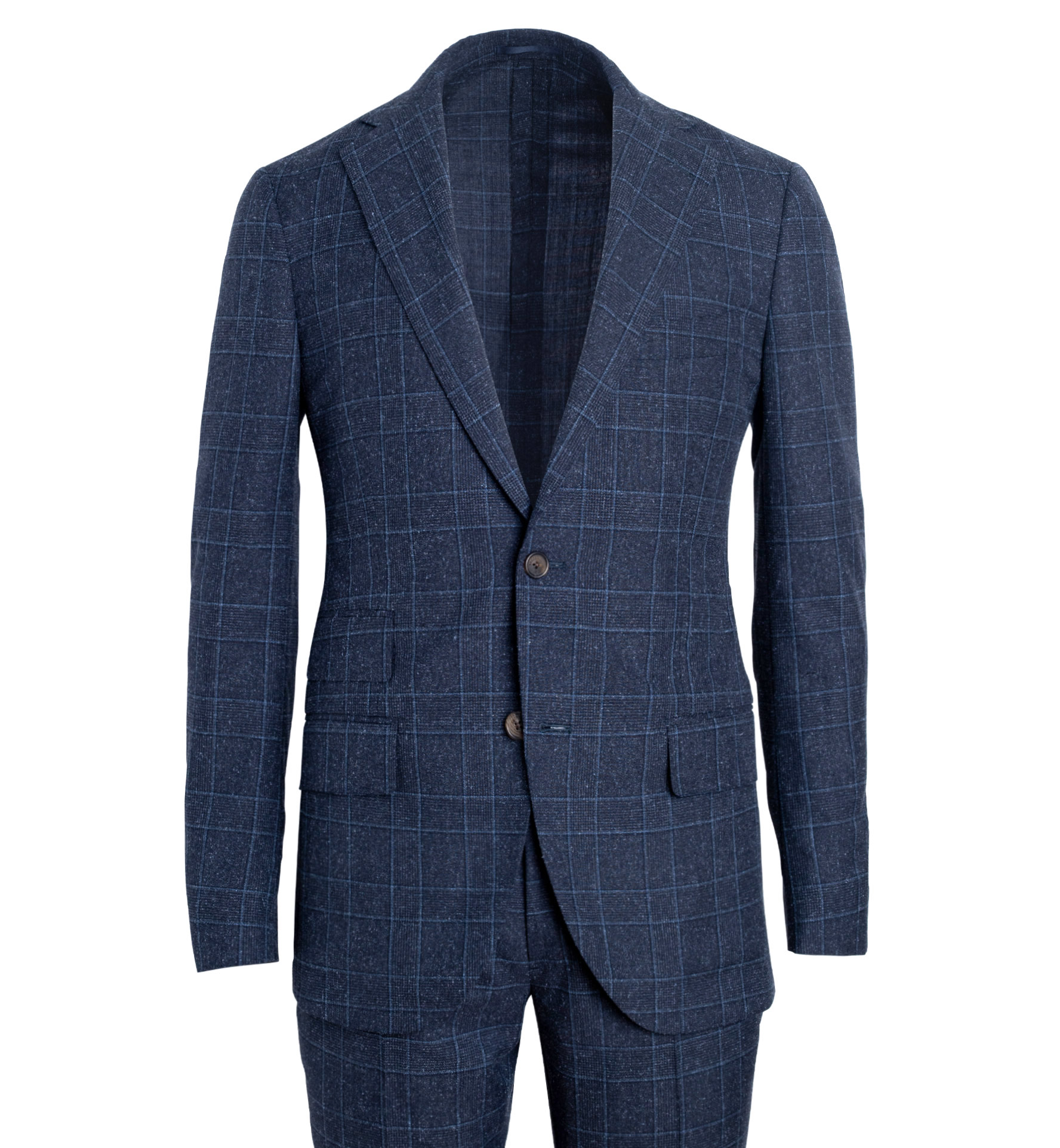 Zoom Image of Bedford Navy Glen Plaid Wool and Silk Suit