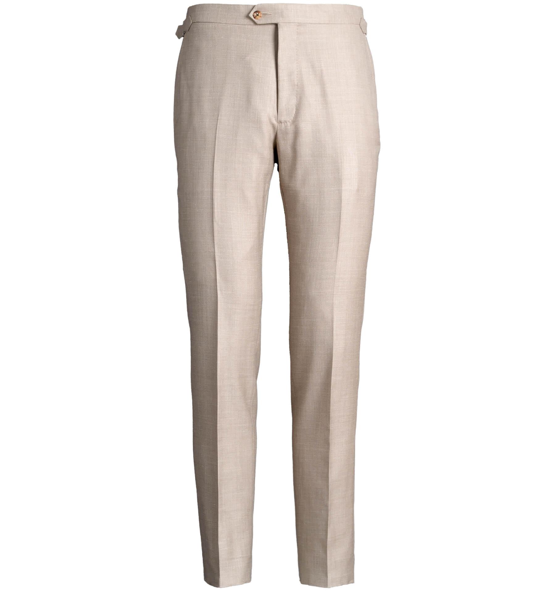Zoom Image of Allen Beige Wool Silk and Linen Trouser