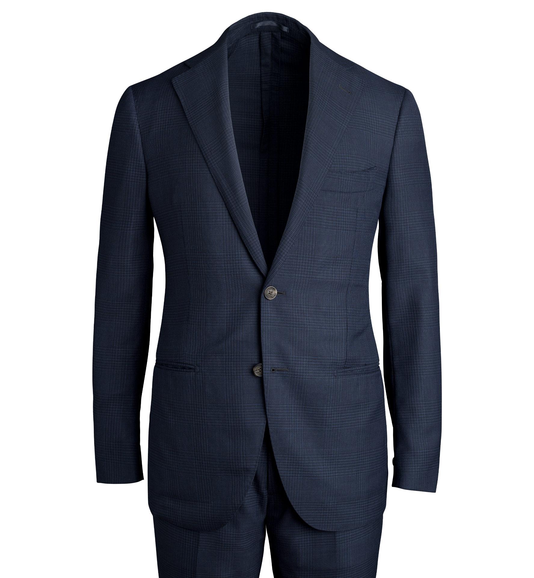 Zoom Image of Bedford Navy Glen Plaid Wool Mesh Suit