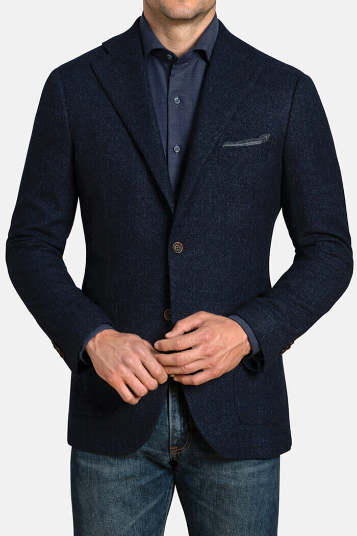 Bedford Navy Melange Slub Wool Flannel Jacket
