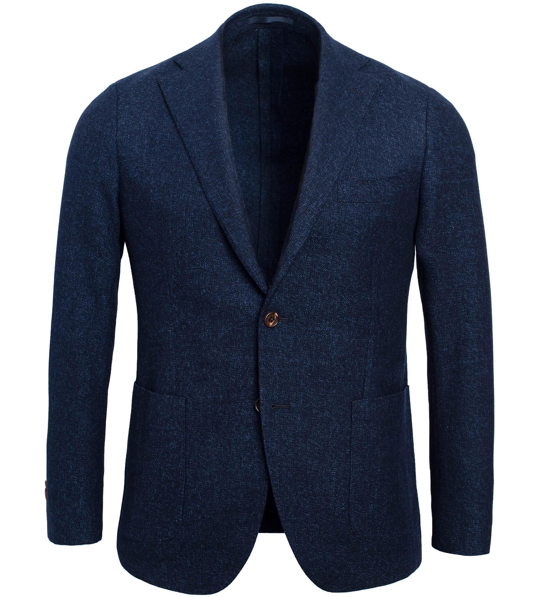 Zoom Image of Bedford Navy Melange Slub Wool Flannel Jacket