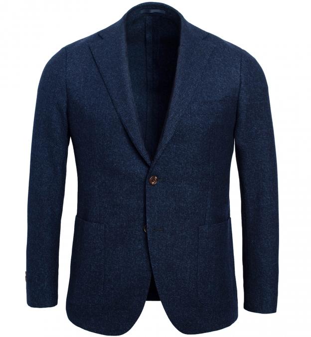 Bedford Navy Melange Slub Wool Flannel Jacket
