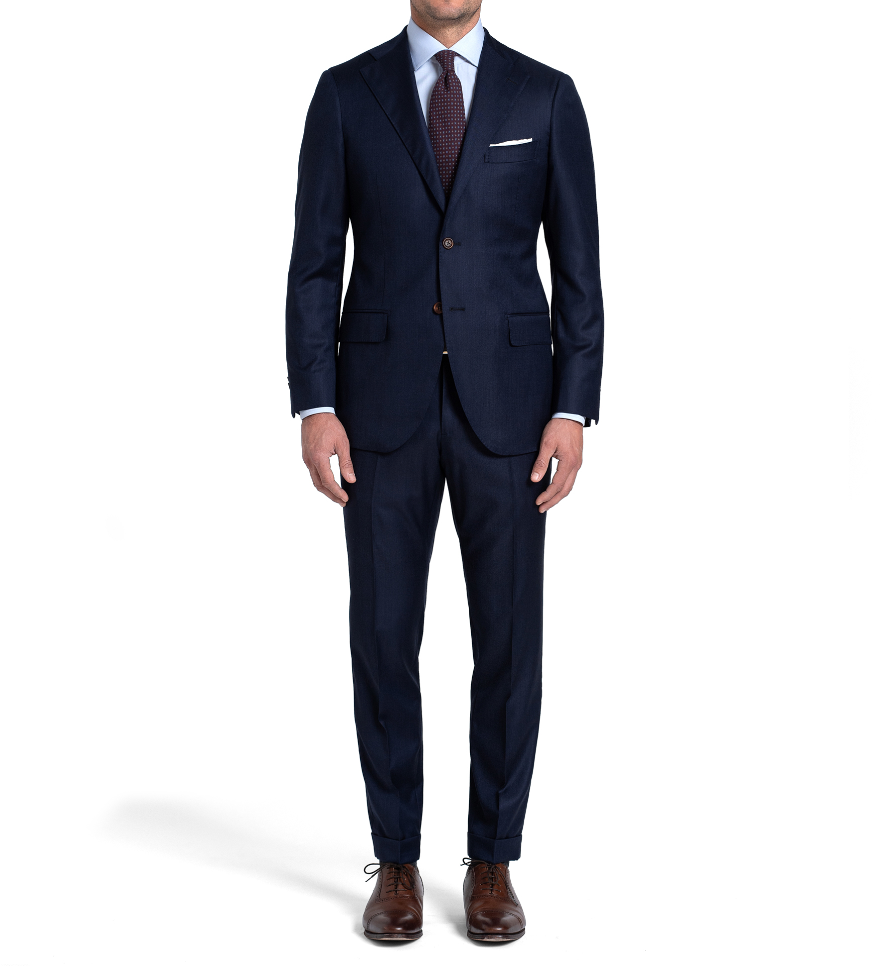 Zoom Image of Allen Navy Melange S110s Comfort Wool Suit with Cuffed Trouser