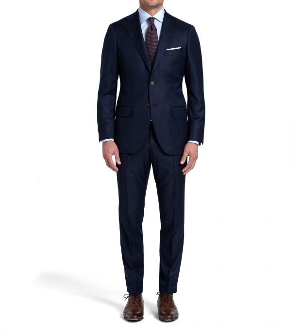 Allen Navy Melange S110s Comfort Wool Suit with Cuffed Trouser