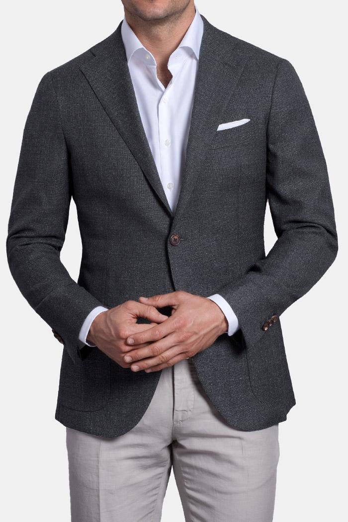 Hudson Grey Melange Wool Hopsack Jacket