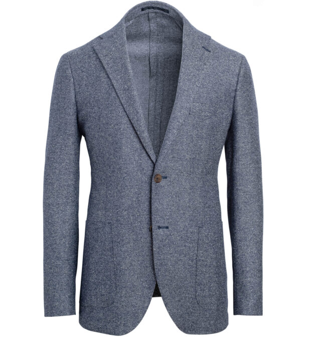 Bedford Glacier Blue Wool and Silk Basketweave Jacket