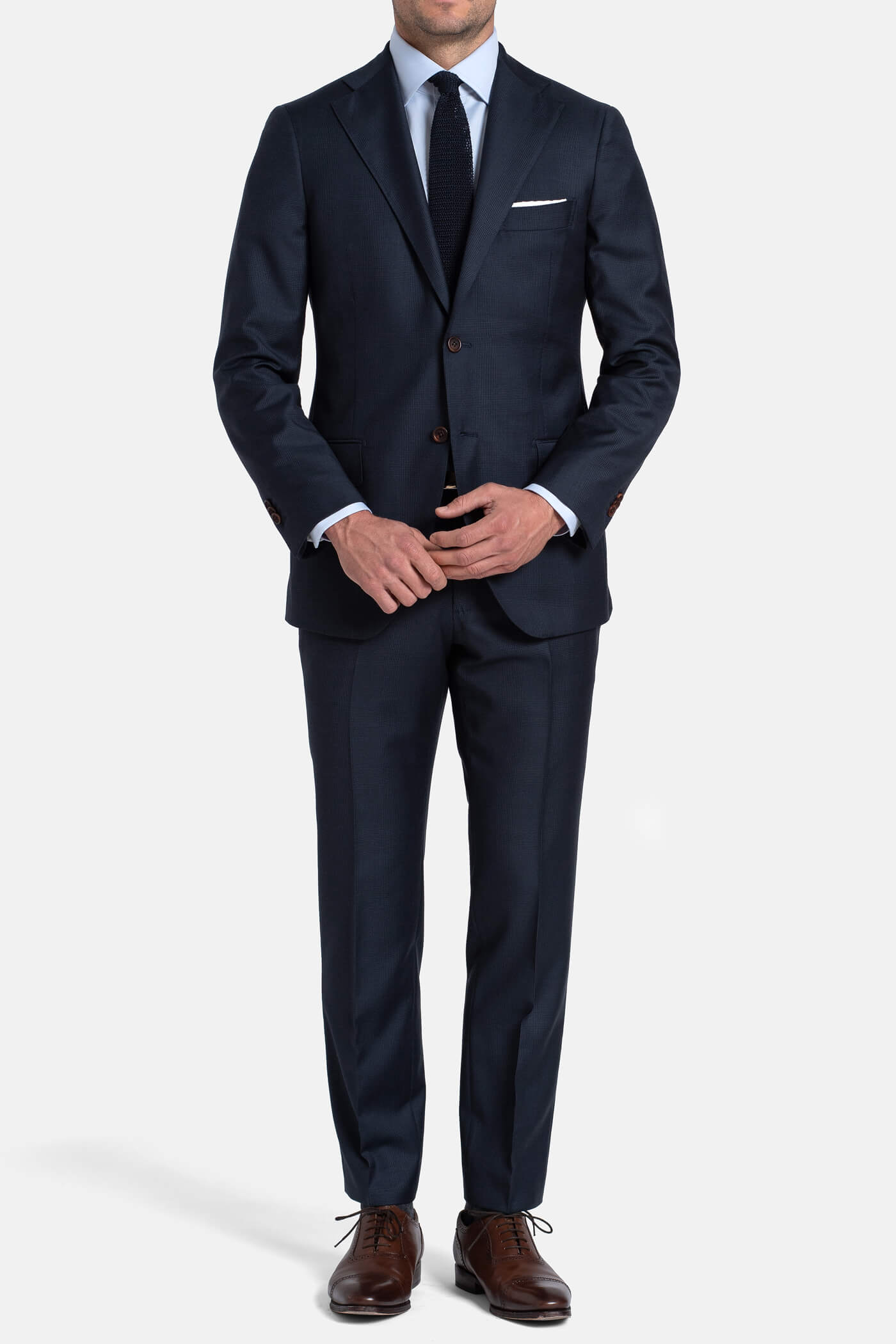 Allen Navy S110s Glen Plaid Suit