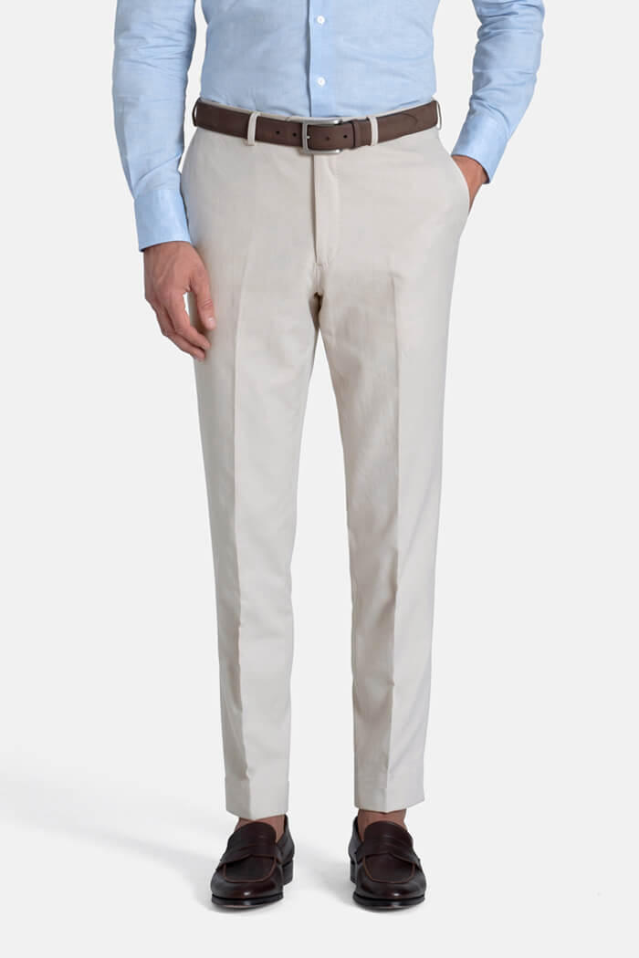 Allen Beige Cotton and Linen Canvas Trouser