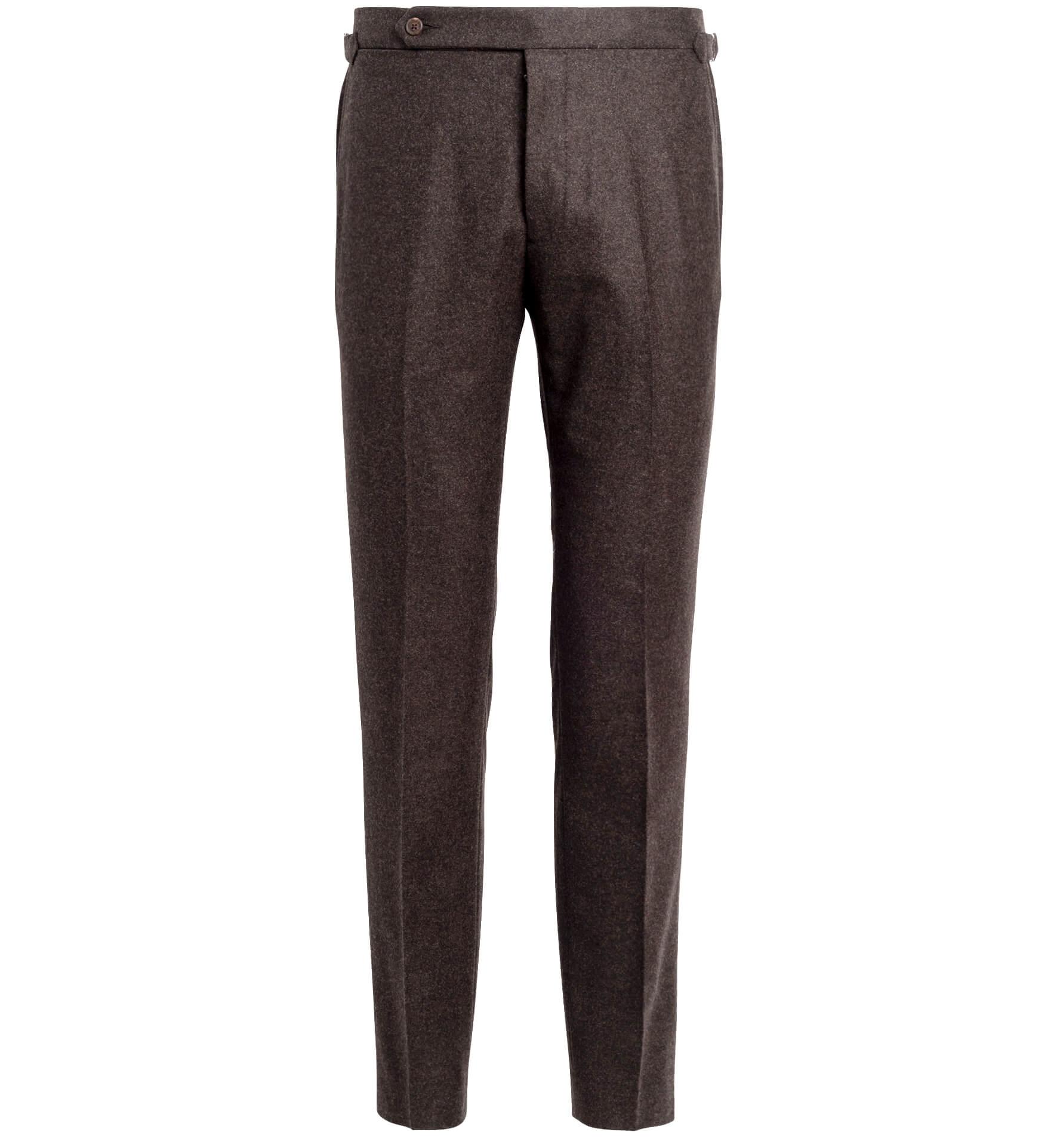 Zoom Image of Allen Brown Wool Flannel Trouser