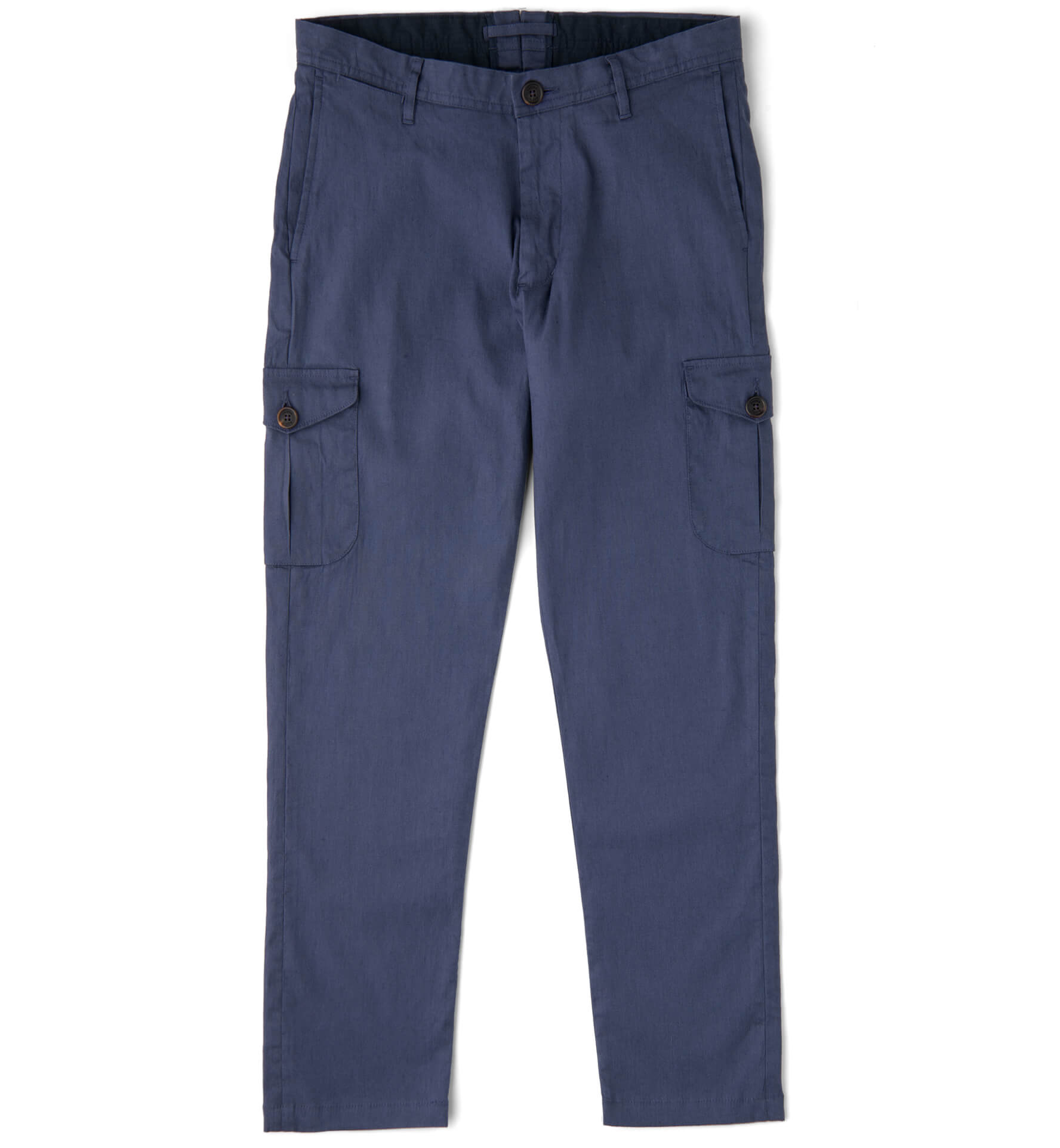 Zoom Image of Thompson Faded Navy Stretch Linen Blend Cargo Pant