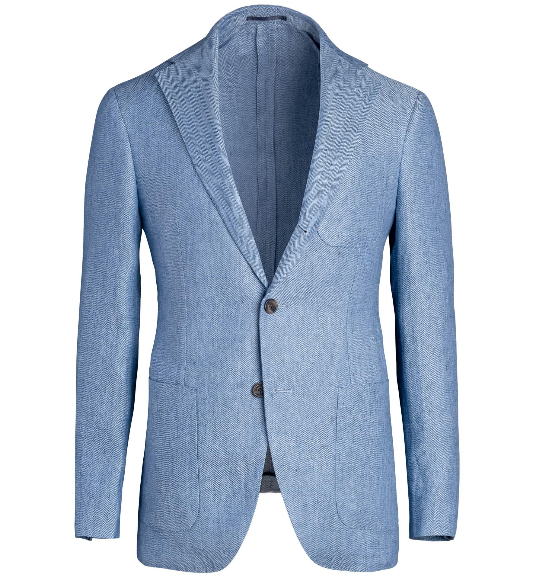 Zoom Image of Waverly Light Blue Linen Herringbone Jacket