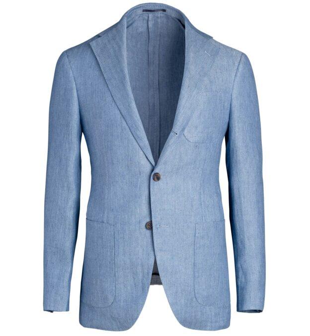 Waverly Light Blue Linen Herringbone Jacket