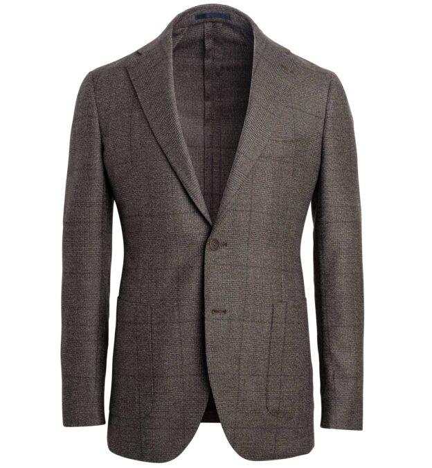 Bedford Mocha Melange Prince of Wales Wool Jacket