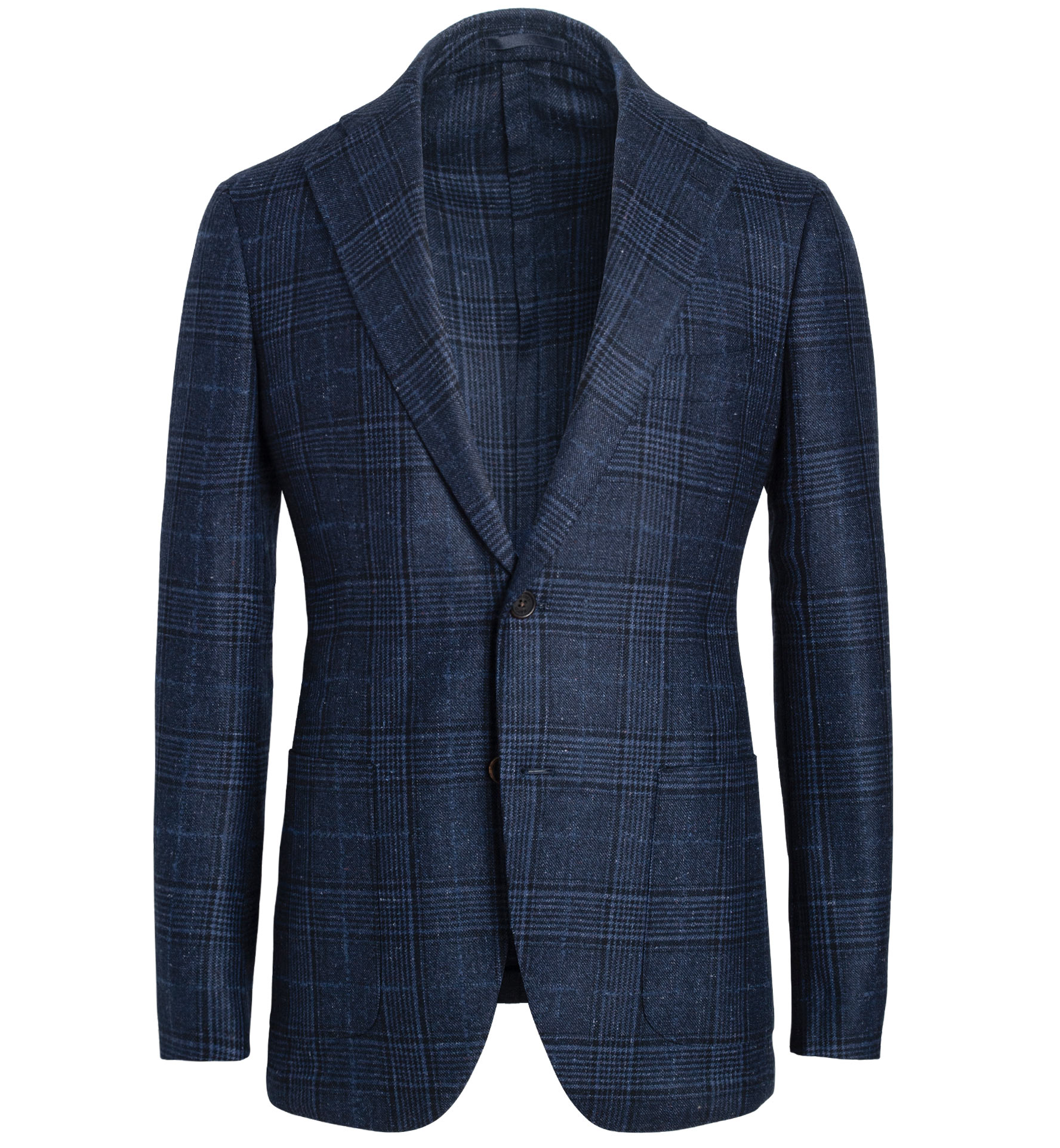 Zoom Image of Bedford Navy Glen Plaid Slub Wool and Silk Jacket