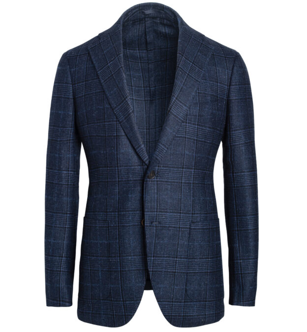 Bedford Navy Glen Plaid Slub Wool and Silk Jacket