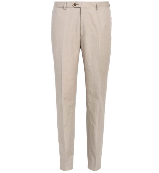 Allen Sand Cotton and Linen Canvas Trouser