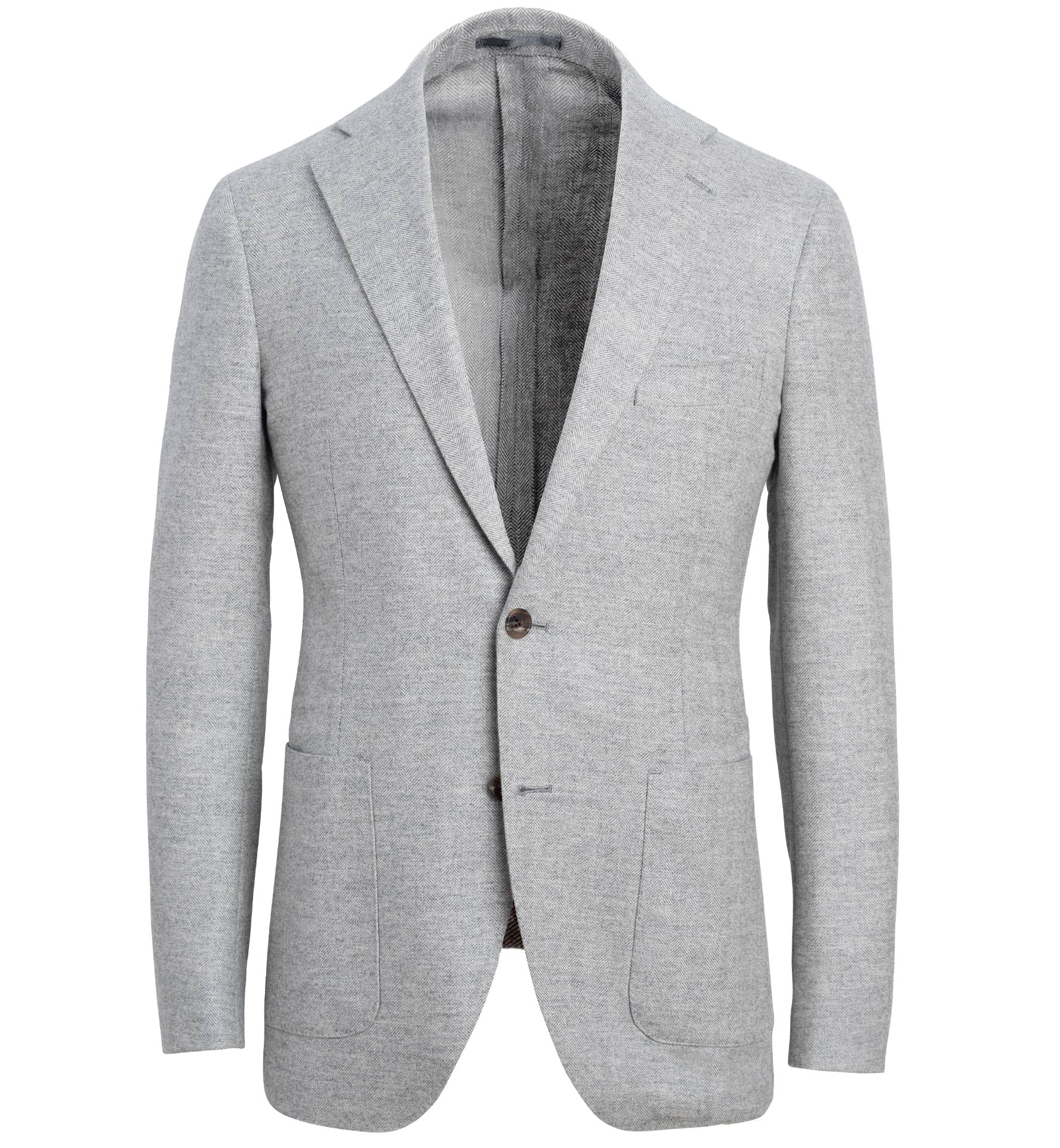 Zoom Image of Bedford Light Grey Wool and Cashmere Herringbone Jacket