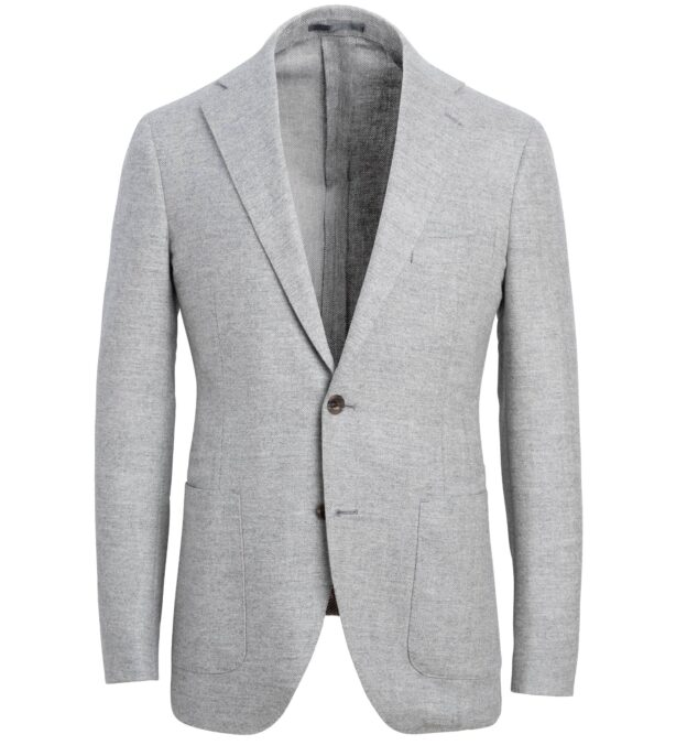 Bedford Light Grey Wool and Cashmere Herringbone Jacket