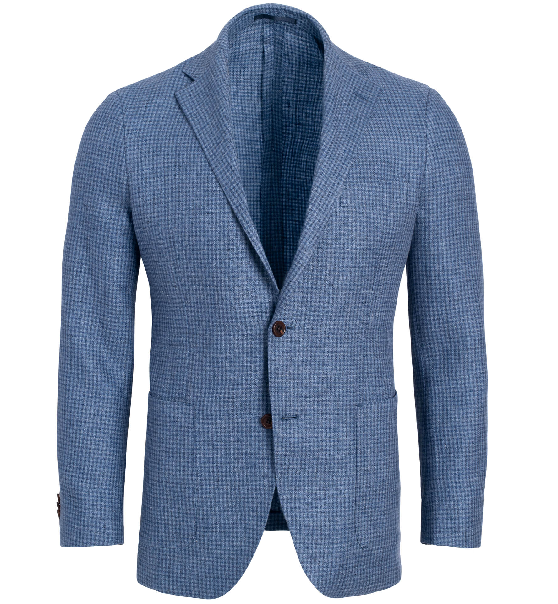 Zoom Image of Bedford Faded Blue Houndstooth Linen and Wool Jacket
