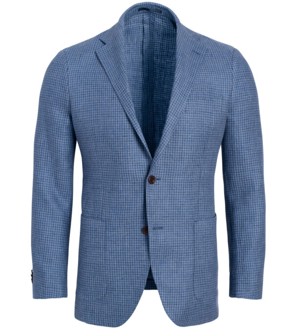 Bedford Faded Blue Houndstooth Linen and Wool Jacket