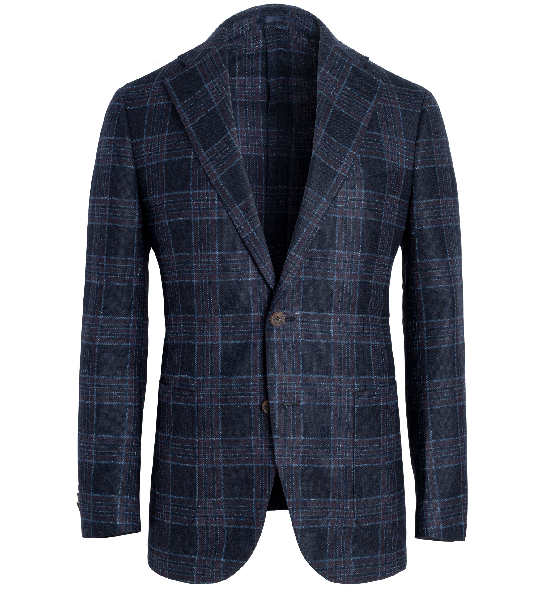 Zoom Image of Bedford Navy Plaid Wool Silk Flannel Jacket