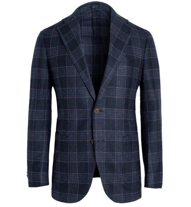 Bedford Navy Plaid Wool Silk Flannel Jacket