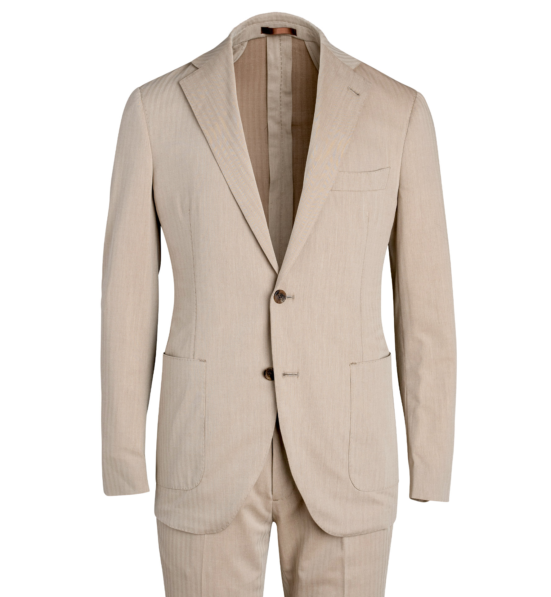 Zoom Image of Bedford Beige Wool and Cotton Solaro Suit