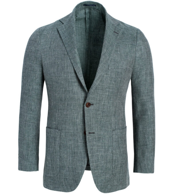Bedford Faded Sage Linen and Wool Hopsack Jacket