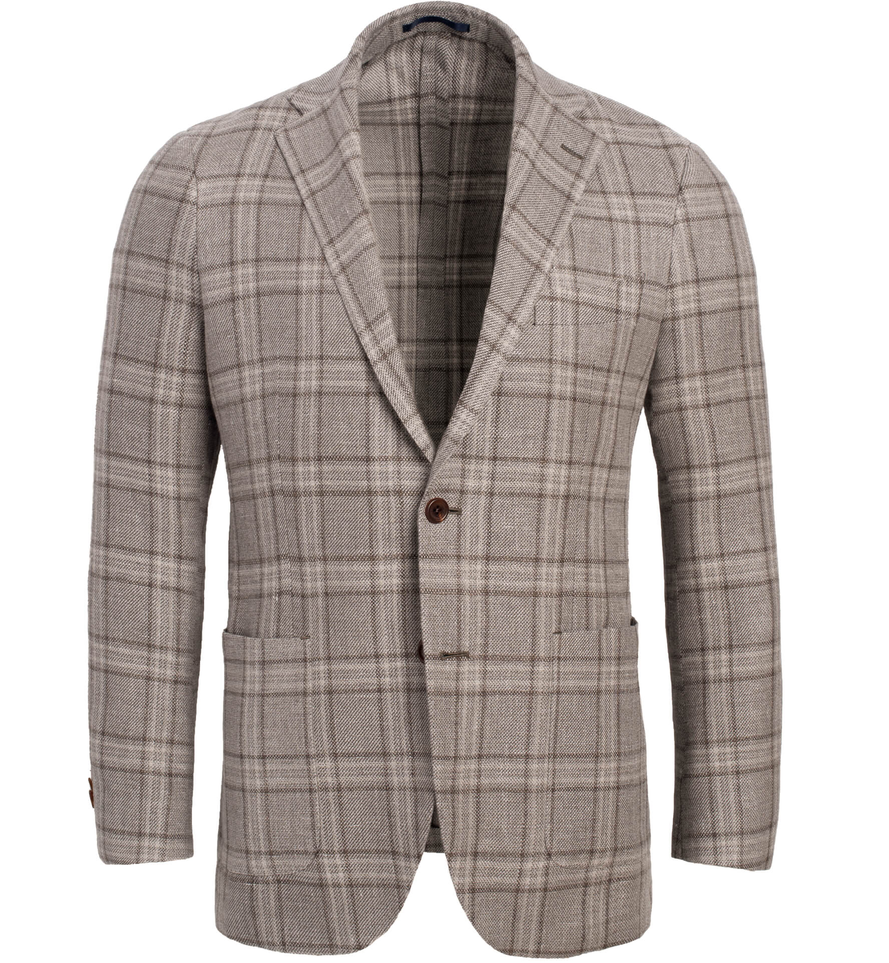 Zoom Image of Bedford Beige Plaid Linen and Wool Jacket