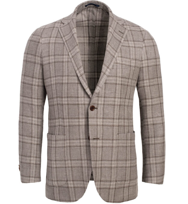 Bedford Beige Plaid Linen and Wool Jacket