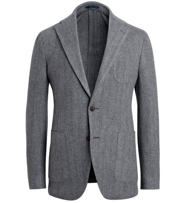 Waverly Grey Lambswool Herringbone Jacket