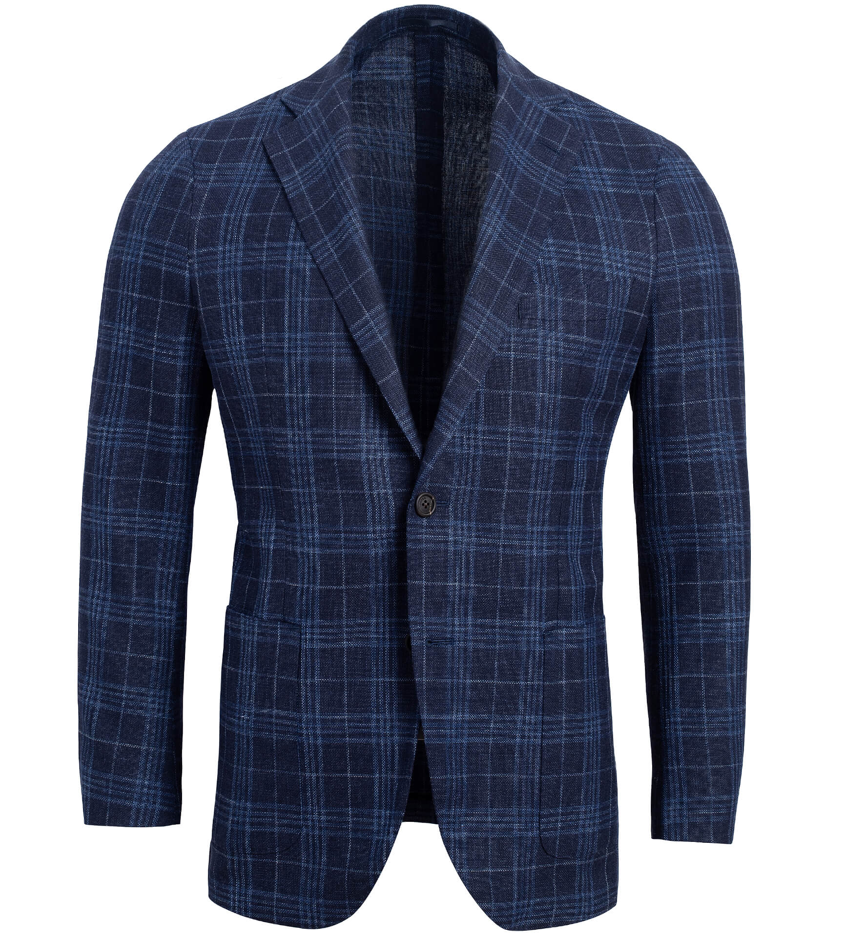 Zoom Image of Bedford Navy Plaid Summer Blend Jacket