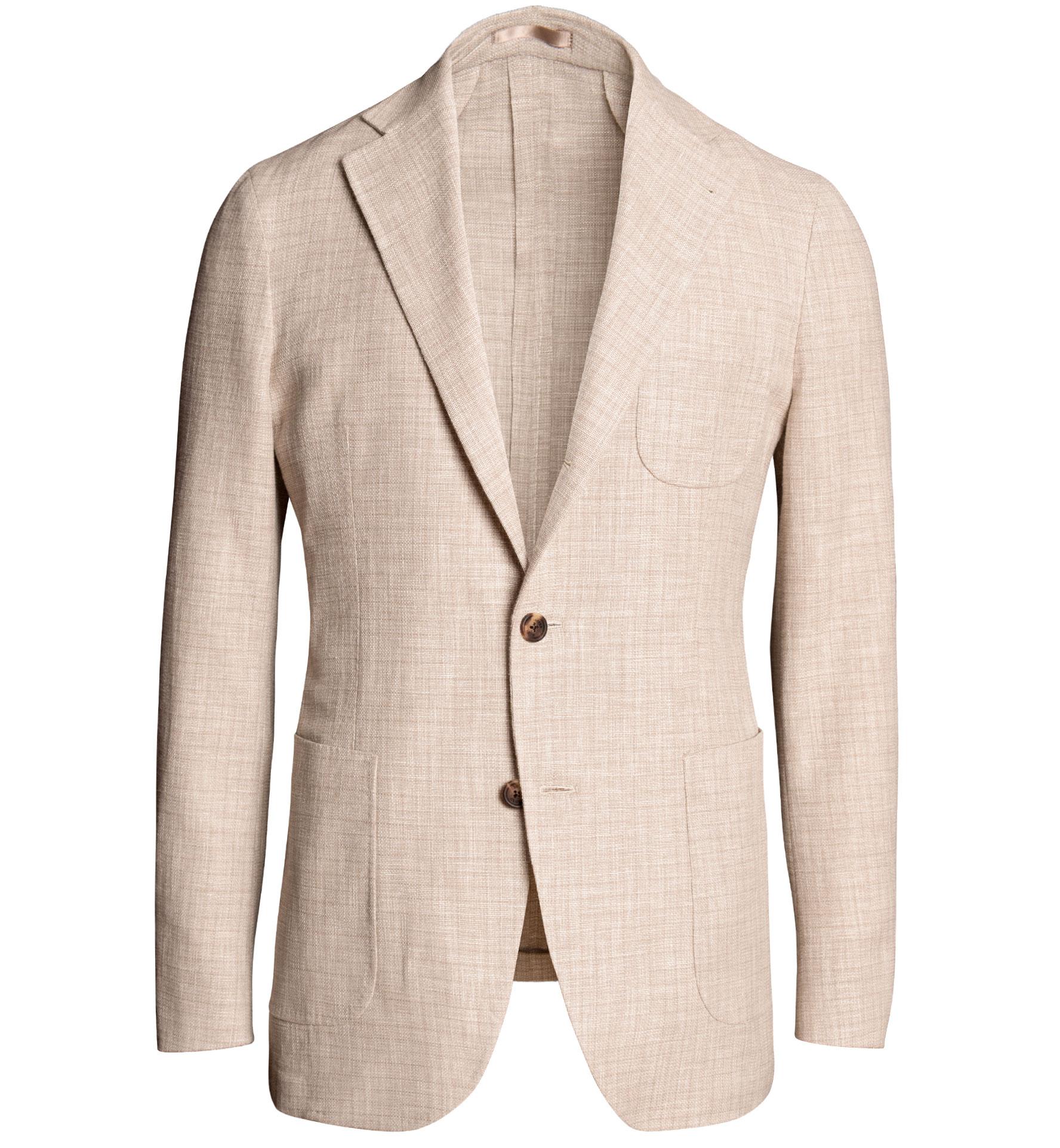 Zoom Image of Waverly Beige Wool Blend Gauze Weave Jacket