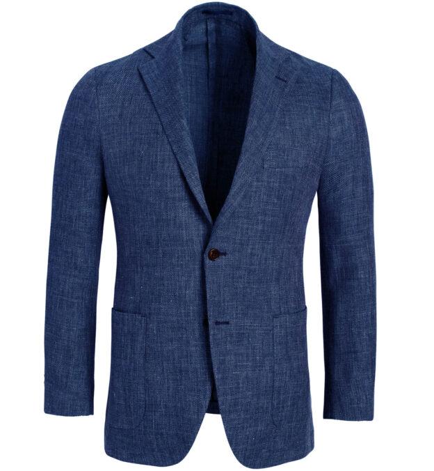 Bedford Ocean Blue Linen and Wool Hopsack Jacket