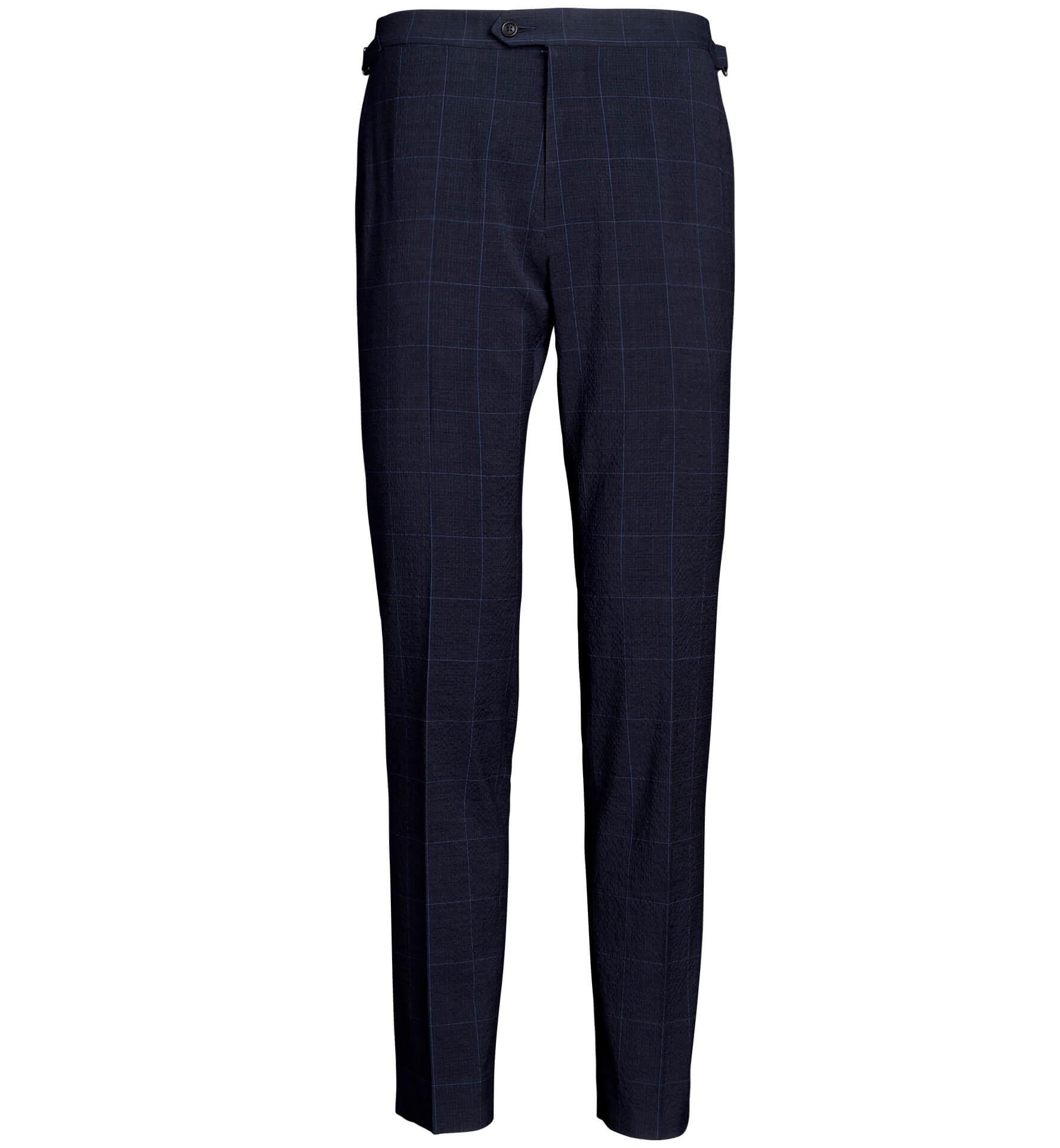Zoom Image of Allen Navy Plaid Stretch Wool Seersucker Trouser