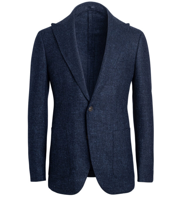 Bedford Navy Textured Wool Blend Jacket