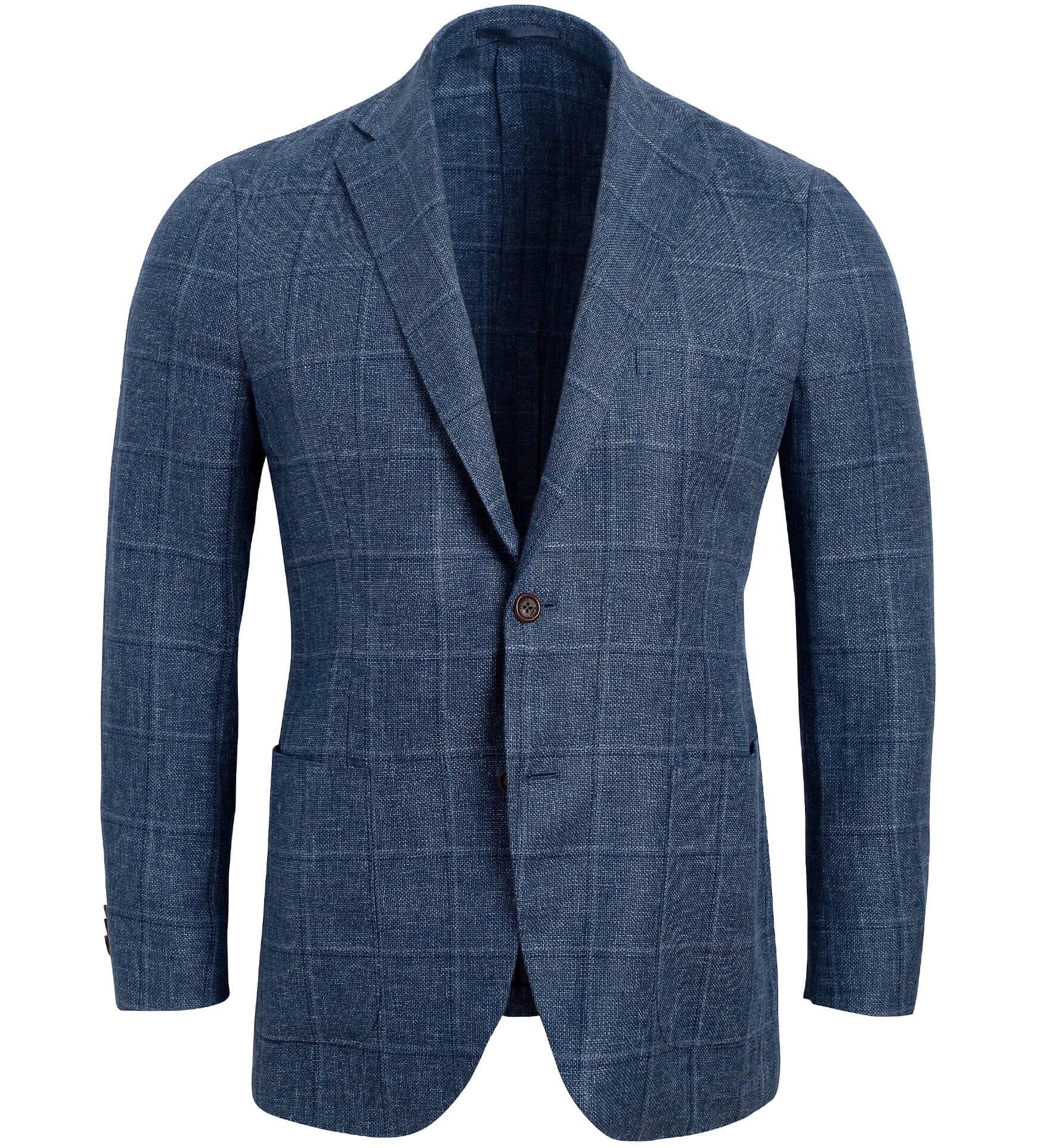 Zoom Image of Bedford Slate Windowpane Linen and Wool Jacket