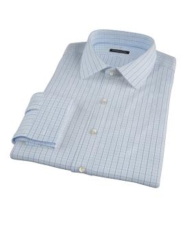 Light Blue Windowpane Glen Plaid Custom Dress Shirt