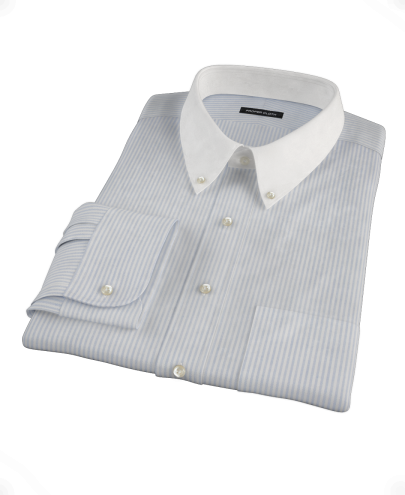 French Blue Stripe Heavy Oxford Cloth Custom Dress Shirt