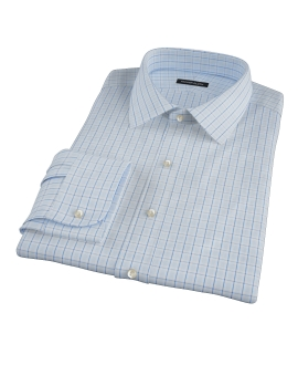 Light Blue Windowpane Glen Plaid Custom Made Shirt