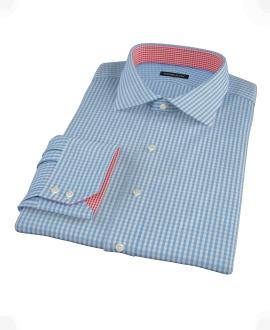 Small Light Blue Japanese Gingham Custom Made Shirt