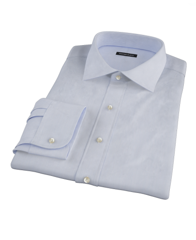 Albini Blue White Fine Stripe Fitted Dress Shirt