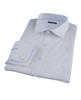 Albini Blue White Fine Stripe Fitted Dress Shirt