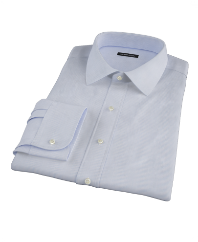Albini Blue White Fine Stripe Custom Dress Shirt