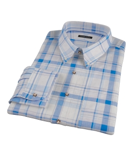 Blue and White Organic Madras Tailor Made Shirt